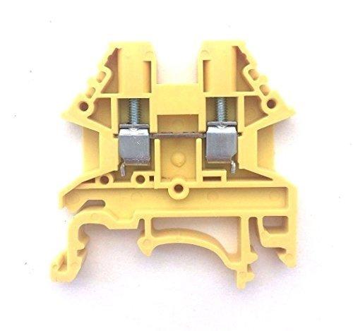 Dinkle Yellow DK2.5N-YW DIN Rail Terminal Block Screw Type UL 600V 20A 12-22AWG, Pack of 100