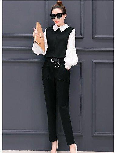Mujer Para Chic Maciza Algodón Muelles Negro Larga Xuanku Un Camisa Pantalones Con Nailon Cuello Manga Elasticidad Y Trabajo De Toque cqnWnF4It