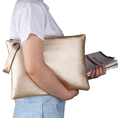 Aladin Oversized Clutch Bag Purse, Womens Large leather Evening Wristlet Handbag (Gold) ()