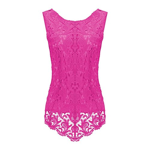 Sumtory Women's Lace Blouse Sleeveless Embroidery Tops Vest Shirt Blouse – Small, RoseRed