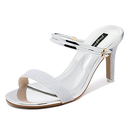 Shoessummer Silver Femenina De Alto Casuales Con Solos Abierta Punta Vivioo Finas Las Zapatos Mujeres Sandalias Salvajes Tacón Hebilla Ygww4Tq