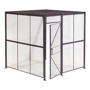 WireCrafters 884C 4 Sided Woven Wire Partition with Ceiling, Gray by Wirecrafters