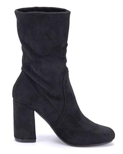 Schuhtempel24 Damen Schuhe Klassische Stiefeletten Stiefel Boots Blockabsatz Schlupf 9 cm Schwarz