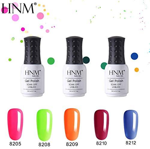 - HNM 5pcs Fluorescent Candy Glitter Gel Nail Polish Varnish UV LED Soak Off Manicure Salon 8ML