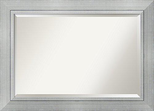 Art Glass Contemporary Mirror - Bathroom Mirror Extra Large, Romano Silver: Outer Size 43 x 31