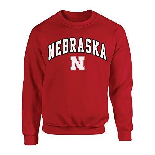 Elite Fan Shop Nebraska Cornhuskers Crewneck Sweatshirt Arch Red - L