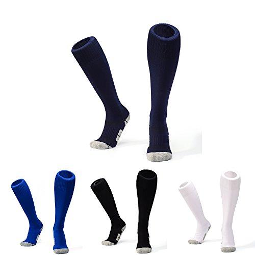 WAWEN Kid's Knee High Soccer sock youth Soccer Sports Team Tube Socks Long Stockings Towel Bottom Sox Football Socks of boys( 1-9.5UK/Kid) 1/4/5 (Game Model Hockey Stick)