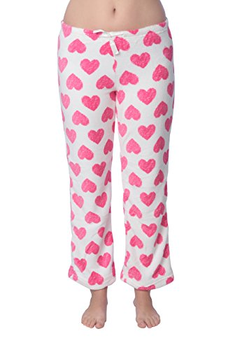 Active Club Women's Warm Printed Cozy Plush Lounge Pajama Pants (Large, hearts) (Printed Pants Jersey Lounge)