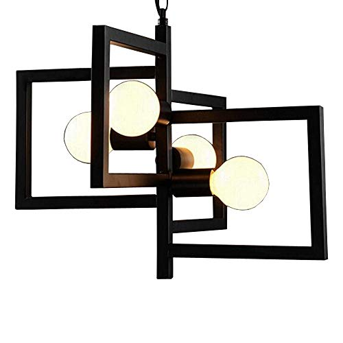 BAYCHEER Industrial Retro Style Indoor Multi-Light Pendant Lighting Celling Light Chandelie Hanging Lighting Lamp Fixture in Geometric Square Shape Finish use 4 E26 Bulbs Black