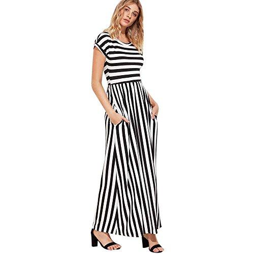 Emimarol Women Dress Short Sleeve Dress Striped Full Length Dress Boho Long Maxi Dress with Pockets Black ()