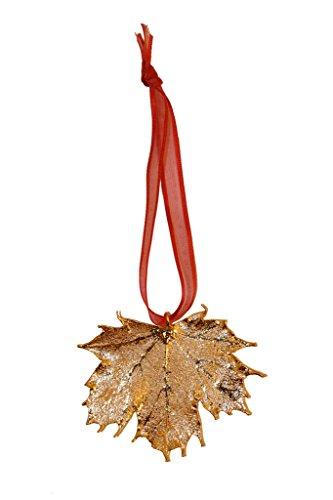 Edel-Heid Real Leaf Ornaments, Gold Plated Real Sugar Maple Leaf, Christmas Leaf Gift, Natural Leaf Ornament