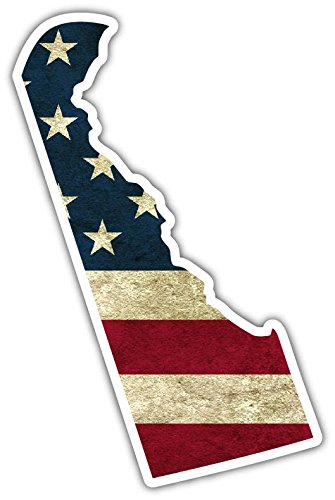 "Worn Out USA Flag US Flag Covered Delaware State Shape Vinyl Bumper Sticker Decal 3""X 5"""
