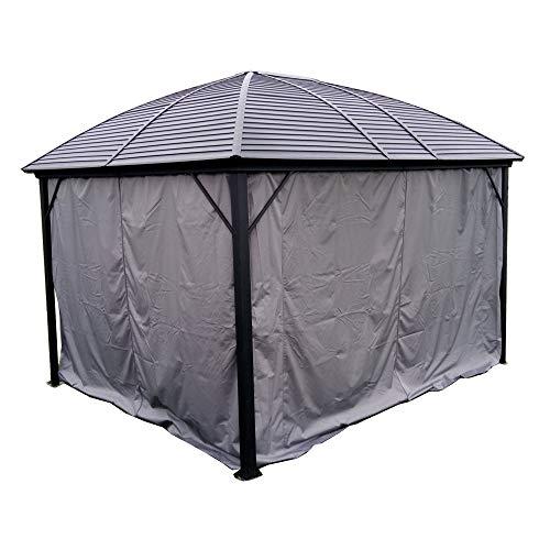 ALEKO GZM10X12C UV-Protective Polyester Curtain Panels for Hardtop Round Roof Gazebo - 12 x 10 Feet - Gray