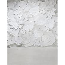 5x7ft White Paper Flowers Photography Background Computer-Printed Vinyl Backdrops