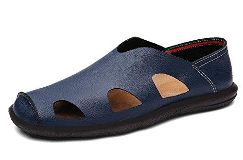 Los zapatos de cuero de las sandalias de los hombres de cuero nuevo verano hueco sandalias de hombres de mediana edad 3