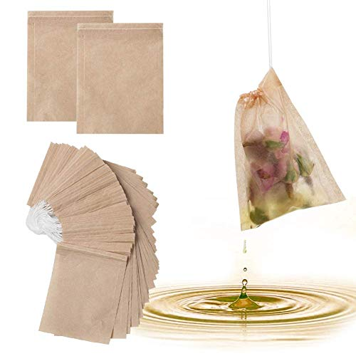300PCS Tea Filter Bags, Disposable Infuser, 100% Natural Unbleached Wood pulp Paper Safe Drawstring Bags for Loose Leaf Herbs Teas and Coffee
