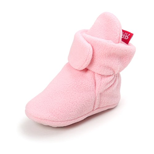(Baby Boys Girls Cozy Fleece Booties With Non Skid Bottom Infant First Walker Sock Shoes(Light Pink,12cm(6-12)