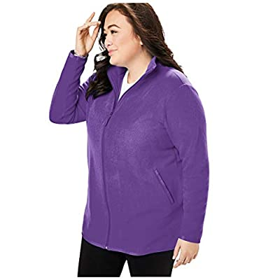 Woman Within Women's Plus Size Zip-Front Microfleece Jacket at Women's Coats Shop