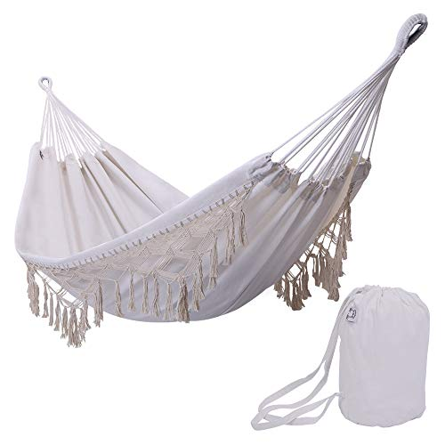 ONCLOUD Boho Large Brazilian Fringed Macramé Double Deluxe Hammock Swing Bed with Carry Bag for Patio, Porch, Bedroom, Yard, Beach, Indoor, Outdoor & Wedding Party Decor, White (Fringe Hammock)