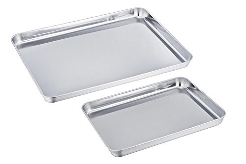 Teamfar Baking Sheet Cookie Sheet 2pc Stainless Steel Baking Pan Deal (Large Image)