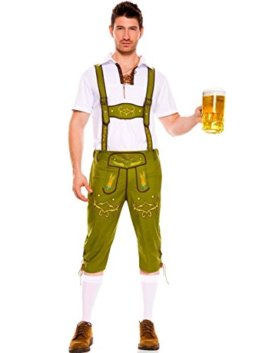 German Beer Men Oktoberfest Man's Adult Halloween Costumes (M, Green) - Pair Halloween Costumes For Guys