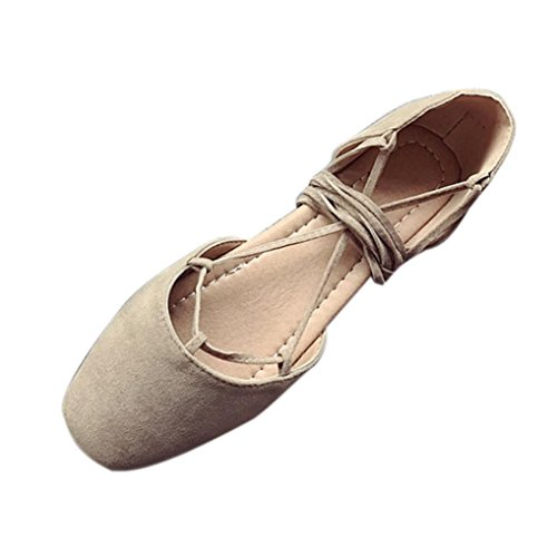 HLHN Women Sandals,Roman Ankle Cross Strap Lace-up Flat Heel Straw Shoes Espadrilles Casual Vintage Lady Kahki