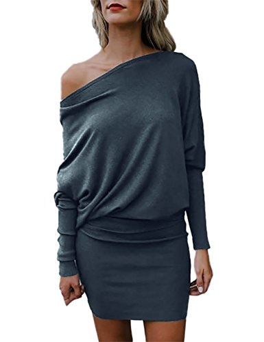 one shoulder batwing sleeve dress - 1