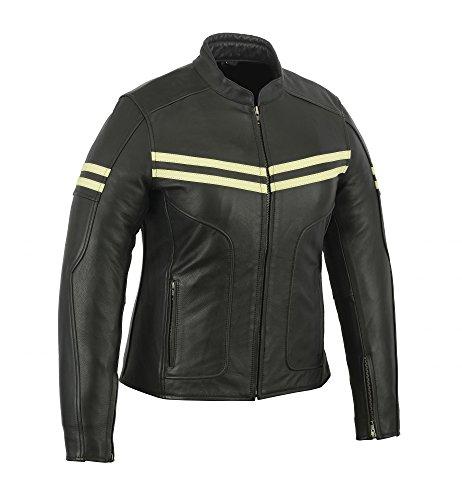 A&H Apparel Womens Ladies Genuine Cowhide Zip-Out Linning Motorcycle Gun Pocket Jacket (XX-Large)