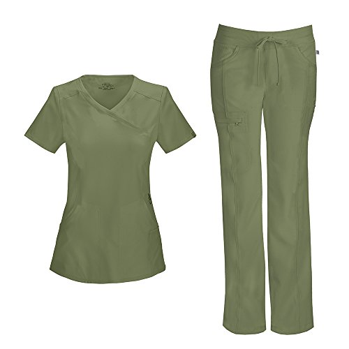 Cherokee Infinity Women's Mock Wrap Scrub Top 2625A & Low Rise Drawstring Scrub Pants 1123A Scrubs Set (Certainty Antimicrobial) (Olive - Medium/Medium Petite) ()