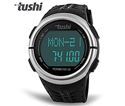 Tushi Heart Rate Monitor & Multifunction Sports Pulse Watch + Waterproof Pedometer Fitness Activity Tracker + Chronograph Stopwatch and Countdown Timer + EL Backlight with Daily and Hourly Alarm