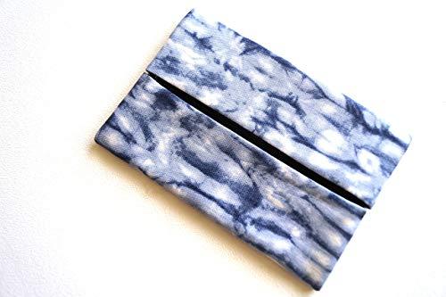 Pocket Size Travel Tissue Holder with Indigo Blue Shibori Pattern