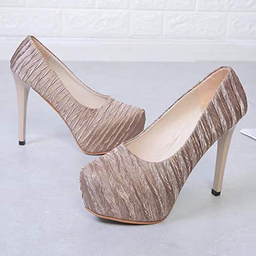 Chaussures Bottes forme Casual À L'intérieur Plate Épais Sanfahion Talon Augmenter Haut Boots Or Femmes Doux az4Swdq