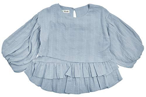 ContiKids Girls Long Bell Sleeve Ruffle Cotton Blouse Shirts 11 Gray