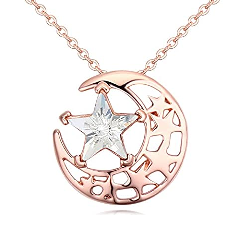 Gorgeous Jewelry Rose Gold Plated Bright Stars and Moon Combination White Swarovski Element Crystal Pendant (Violin Practice Notebook)