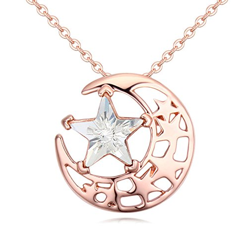 Gorgeous Jewelry Rose Gold Plated Bright Stars and Moon Combination White Swarovski Element Crystal Pendant (Pia Down Pendant)
