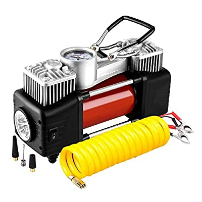 Audew Dual Cylinder Air Compressor Pump, Two Times Faster Heavy Duty Portable Air Pump, Faster Auto 12V Tire Inflator for Car, Truck, RV, Bicycle and Other Inflatables
