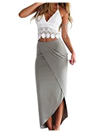 NANYUA Womens Lace Deep V Neck Crop Top Slit Maxi Skirt Bodycon Beach 2 Pieces Set