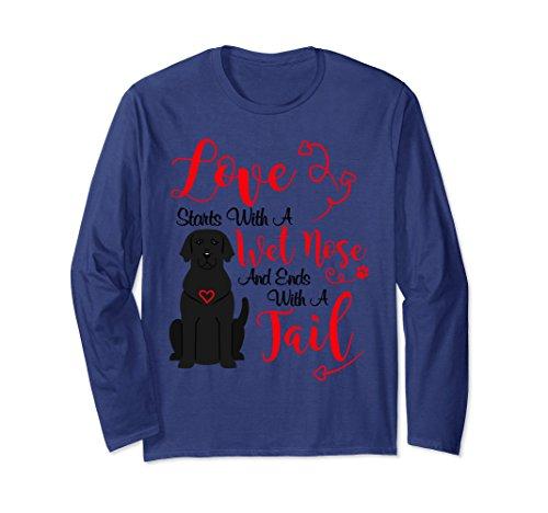 Lab Adult T-shirt (Unisex Valentines Day Love My Dog T-Shirt Black Lab Labrador Dog XL: Navy)