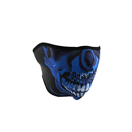 Zan Headgear Blue Chrome Skull Men's Half Face Mask Helmet Accessories, One Size
