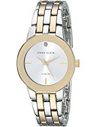 Anne Klein Women's AK/1931SVTT Diamond-Accented Dial Two-Tone Bracelet Watch