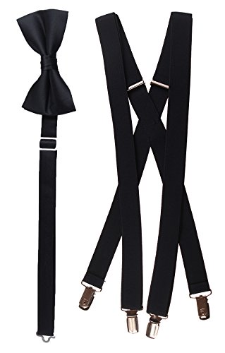 Tuxgear Mens Bow Tie and Suspender Set Combo, Black, Men's 48 Inch (48