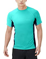 Tesla Men's (Pack of 1, 2) UPF 50+Swim Shirt Loose-Fit Swim Tee Rashguard Top