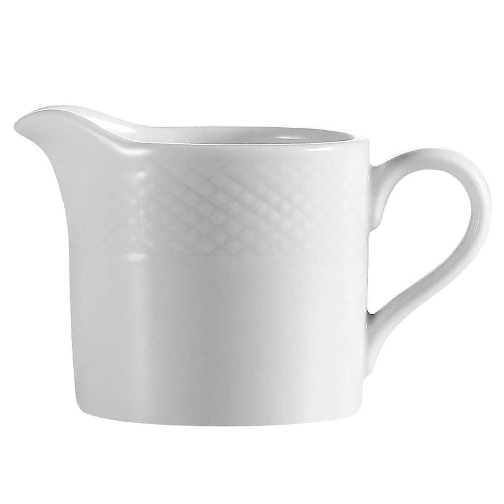 Tabletop King BST-PC Boston 4 oz. Super Bright White Embossed Porcelain Creamer - 36/Case