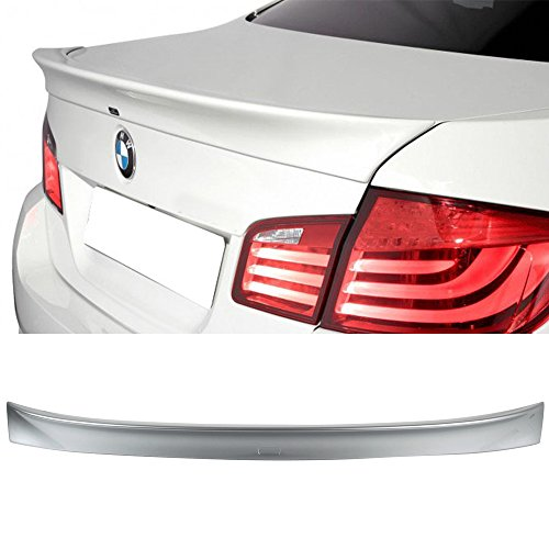 (Pre-Painted Trunk Spoiler Fits 2011-2016 BMW 5 Series F10 | AC Style #A83 Glacier Silver Metallic ABS Rear Spoiler Wing Deck Lid by IKON MOTORSPORTS | 2012 2013 2014 2015)