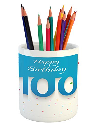 100th Birthday Pencil Pen Holder by Ambesonne, Birthday Party Wish for 100 Years Old with Colorful Dots Happiness Image, Printed Ceramic Pencil Pen Holder for Desk Office Accessory, Multicolor