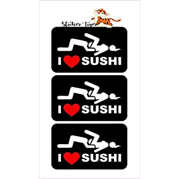 I Love Sushi Hard Hat Decal Motorcycle Helmet Sticker Welding Toolbox Funny