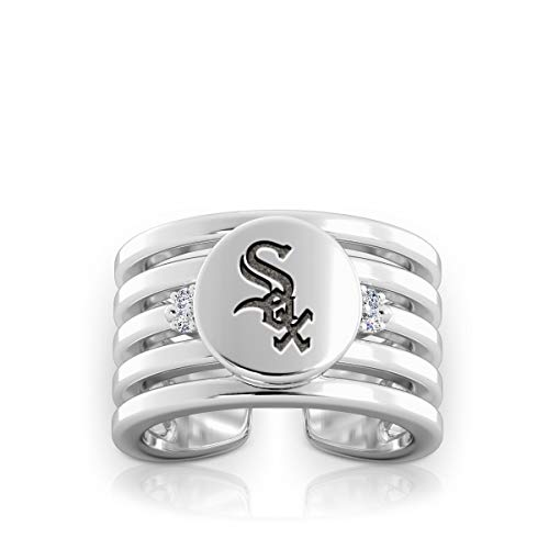 Bixler Chicago White Sox White Sox Logo Engraved Multiband Cuff Ring