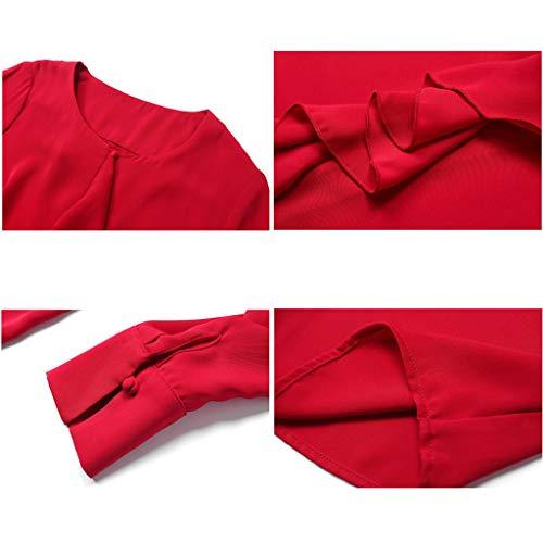 Color Redondo Sólido Cardigan Tops Mujeres Moda Blusa Camisa Para Seda Cuello Manga Red Las Larga De 0aABYnqA