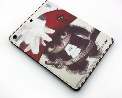Nine States Top Quality PU Leather Anime Print Full Body Protective Cover Hard Case for Ipad Air/Ipad 5 with Kickstand- Cartoon Cute Cat in Boots