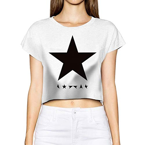 David Bowie Blackstar Album Cover Women's Fashion Crop Top Midriff Tee Casual T Shirt Sports Yoga Shirts M